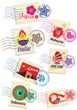 Punktów zwrotnych znaczki ustawiający Fotografia Stock