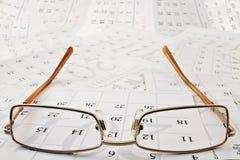Punkty na kalendarzowych stronach Obrazy Stock