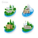 Punkty zwrotni Crimea Set kolor ikony również zwrócić corel ilustracji wektora Obrazy Stock