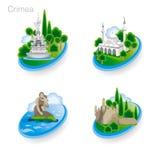 Punkty zwrotni Crimea Set kolor ikony również zwrócić corel ilustracji wektora Obrazy Royalty Free