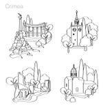 Punkty zwrotni Crimea ustawić symbole Fotografia Royalty Free