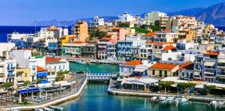 Punkty zwrotni Grecja - piękny grodzki Agios Nikolaos w Crete isl Obrazy Royalty Free