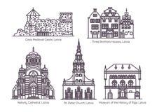 Punkty zwrotni Latvia w cienkiej linii architektura ilustracja wektor