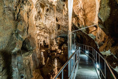 Punkva洞在布尔诺,捷克附近的Moravian石灰岩地区常见的地形地区 在Moravian石灰岩地区常见的地形的一块难以置信的钟乳石 库存照片