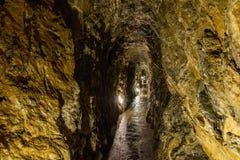 Punkva洞在布尔诺,捷克附近的Moravian石灰岩地区常见的地形地区 在Moravian石灰岩地区常见的地形的一块难以置信的钟乳石 图库摄影