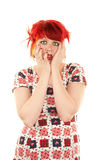 Punky Girl with Red Hair Stock Photo