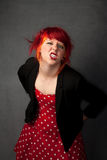 Punky Girl with Red Hair Royalty Free Stock Images