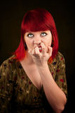 Punky Girl with Red Hair Royalty Free Stock Photo