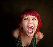 Punky Girl with Red Hair Stock Photography