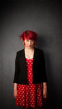 Punky Girl with Red Hair Stock Image