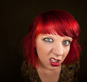 Punky Girl with Red Hair Royalty Free Stock Photography