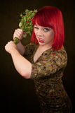 Punky Girl with Red Hair and Flowers Stock Images