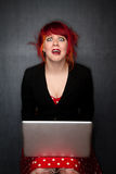 Punky Girl with Red Hair with Laptop Computer Stock Photos