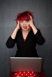 Punky Girl with Red Hair with Laptop Computer Royalty Free Stock Images