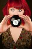 Punky Girl with Red Hair with Prediction Ball Stock Photos