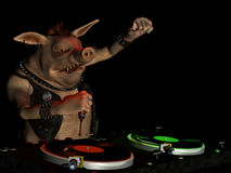 Punky Hog DJ. Punk hog DJ with attitude spinning records Stock Images
