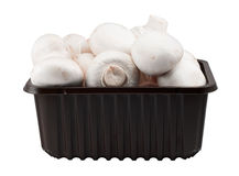 Punnet of Button Mushrooms Stock Photos