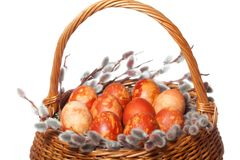 Punnet with coloured easter eggs Royalty Free Stock Image