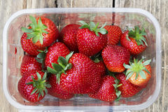 Punnet of frshly icked strawberries Royalty Free Stock Photo