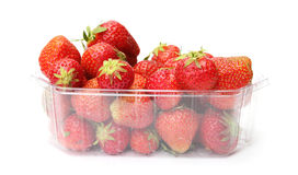 A punnet of strawberries. Isolated on white background royalty free stock photos