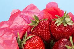 Close up of a punnet of strawberries Royalty Free Stock Images