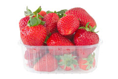 Punnet of strawberries isolated on white Royalty Free Stock Image