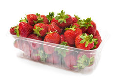 Punnet of Strawberries on White Royalty Free Stock Photo