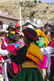 Puno, Peru - August 20, 2016: Native people from peruvian city d Royalty Free Stock Photos