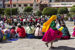 Puno, Peru - August 20, 2016: Native people from peruvian city d Stock Photo