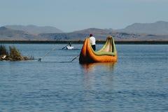 Puno, Peru - July 30, 2017:Totora boat on the Titicaca lake near. Puno, Peru stock photo