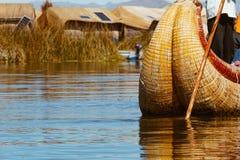 Puno, Peru - July 30, 2017:Totora boat on the Titicaca lake near. Puno, Peru royalty free stock photography