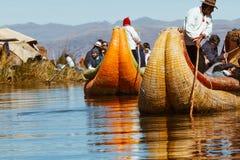 Puno, Peru - July 30, 2017:Totora boat on the Titicaca lake near. Puno, Peru royalty free stock photo