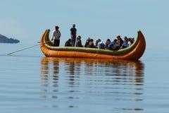 Puno, Peru - July 30, 2017:Totora boat on the Titicaca lake near. Puno, Peru stock photography