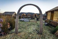 Puno, Peru - July 30, 2017: Traditional Uros village in Puno, Pe. Puno, Peru - July 30, 2017: The Traditional Uros village in Puno, Peru stock images