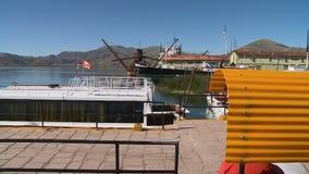 Punohaven in Meer Titicaca, Peru stock footage