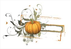 Punpkin with banner Royalty Free Stock Image