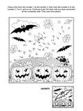 Punt-aan-punt en kleurende pagina - Halloween-knuppel Stock Afbeeldingen