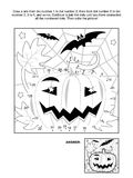 Punt-aan-punt en kleurende pagina - Halloween-pompoen Stock Foto's