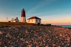 Punt Judith Lighthouse bij zonsondergang royalty-vrije stock afbeeldingen