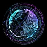 Punt, lijn, oppervlakte uit cirkelgrafiek, Globale netwerkverbinding, internationale betekenis wordt samengesteld die 3D Illustra Royalty-vrije Stock Foto