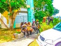 Punt-a-Pitre, Guadeloupe - Februari 09, 2013: Mooi zwart meisje in Caraïbisch Carnaval Stock Foto