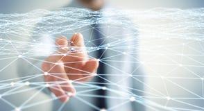 Punt vliegend die netwerk door zakenman 3D terug te geven wordt geraakt Stock Foto's