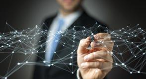 Punt vliegend die netwerk door zakenman 3D terug te geven wordt getrokken Stock Foto's