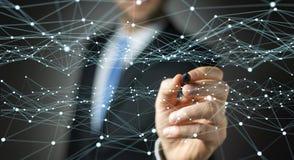 Punt vliegend die netwerk door zakenman 3D terug te geven wordt getrokken Royalty-vrije Stock Afbeelding