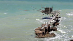 Punta Aderici. Trabocchi Coast in Abruzzo, Italy. stock footage