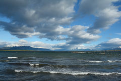 Punta Arenas shoreline 1. Shoreline near the town of Punta Arenas in Southern Chili stock image