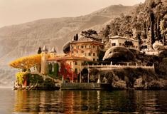 Punta Balbianello - Lake Como. Inspired by old postcard black and white hand paint stock image