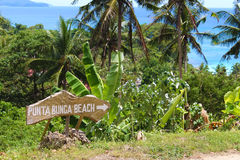 Punta Bunga Beach, Boracay. Guide-board. Stock Images