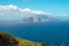 Punta Campanella and landscape of Sorrento`s peninsula and island of Capri. Punta Campanella landscape of sorrento`s peninsula and gulf, Naples, Italy Royalty Free Stock Photography