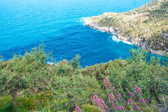 Punta Campanella and landscape of Sorrento`s peninsula and island of Capri. Punta Campanella landscape of sorrento`s peninsula and gulf, Naples, Italy Royalty Free Stock Photo